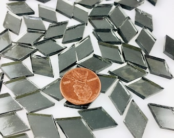 """50 Dark Gray Tiny Mirror Tiles """"Gun Metal"""" Original Spectrum Silvercoat, Stained Glass Tiles are Perfect for Mosaic Art & Crafts"""
