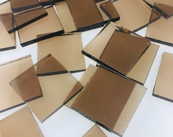 """15 1"""" Bronze Mosaic Tiles Cut From 518-1W Spectrum Waterglass, Stained Glass Tiles are Perfect for Mosaic Art and Craft Projects!"""