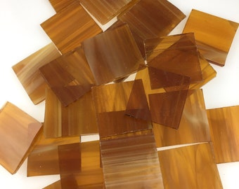 """15 1"""" Light Amber and White Wispy Mosaic Tiles Hand Cut From Spectrum 319.1S Stained Glass, Stained Glass Tiles are Perfect for Mosaics"""