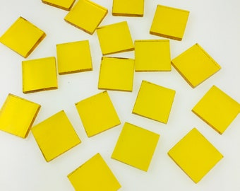 """24 3/4"""" Yellow Mosaic Tiles Hand Cut From Spectrum 161w Waterglass, Stained Glass Tiles are Perfect for Mosaic Art and Craft Projects"""