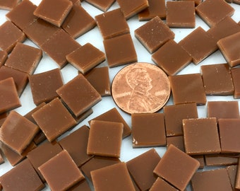 """50 1/2"""" Square Chestnut Brown Mosaic Tiles Hand Cut From Spectrum Fusible Stained Glass, Perfect for Mosaic Art, Fusing or Crafting"""
