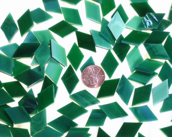 25 Emerald Green Mosaic Tile Diamonds Cut From Oceanside Fusible Stained Glass, Stained Glass Tiles are Perfect for Mosaic Art, Crafts