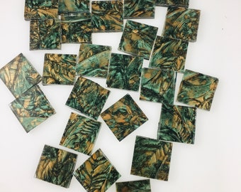 """25 3/4"""" Van Gogh Green Bronze Mosaic Tiles Hand Cut From VG120 Van Gogh Glass, Stained Glass Tiles are Perfect for Mosaic Art and Crafts"""