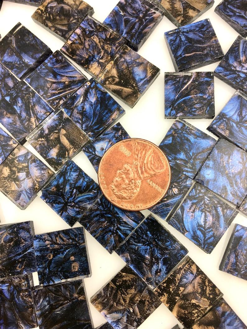 50 1/2 Van Gogh Blue Champagne Mosaic Tiles Hand Cut image 0