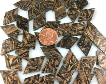 25 Van Gogh Champagne Mosaic Tile Small Diamonds, VGCH Van Gogh Glass, Stained Glass Tiles for Mosaic Art or Craft Projects