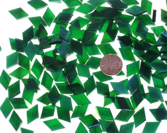 50 Emerald Green Mosaic Tile Tiny Diamonds Cut From Oceanside Fusible Stained Glass, Stained Glass Tiles are Perfect for Mosaic Art