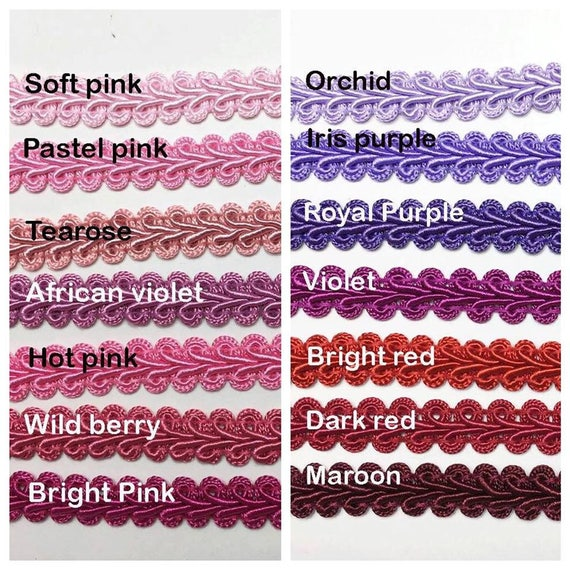 burgundy color sold by 10 yards braided gimp trim 1//2 inch gimp