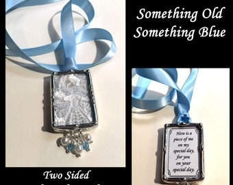 Bridal Bouquet Charm, Heirloom Wedding Accessory Using Your Lace or Fabric Swatch, Something Old Something Blue Pendant