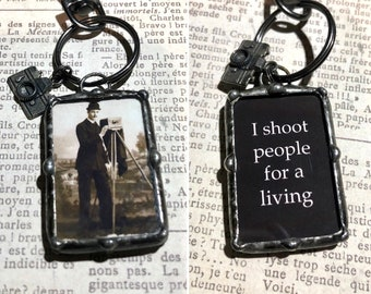 Soldered Art Charm, Photo Keychain, Vintage Image, Photographer Gift, I Shoot People for a Living