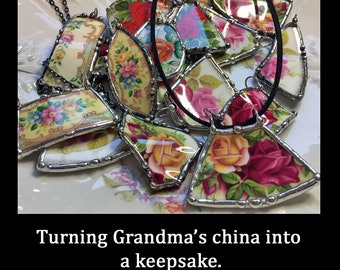 Broken China Pendant Made To Order With Your China Dish, Plate or Other Piece