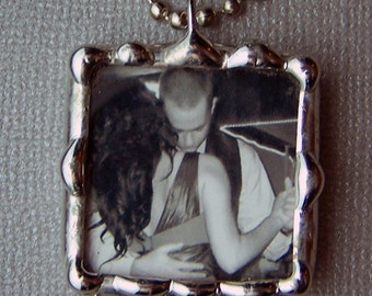 Photo Charm Necklace, Personalized Pendant, Soldered Glass Charm, Personalized Picture Necklace, Custom Made, Two Sided