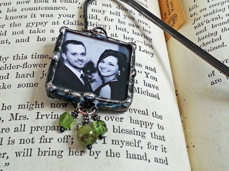 Photo Bookmark Personalized Soldered Charm Memory Glass image 0