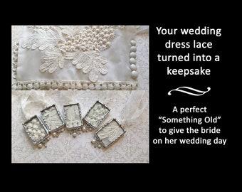 Wedding Bouquet Charm, Something Old, Vintage Wedding Dress Lace, Soldered Glass Pendant, Bridal Shower Gift
