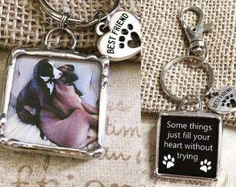 Personalized Photo Keychain, Soldered Glass Charm, Pet Memorial, Best Friends Gift, Dog Pendant, Accessories, Artisan Made, Customized