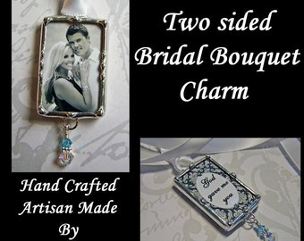 Bouquet Photo Charm For The Bride Memorial Or Engagement Photo Wedding Bouquet Charm