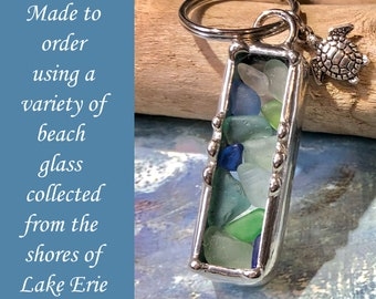 Beach Glass Key Chain Using Authentic Beach Sea Glass, Made To Order Soldered Art Charm, Variety of colors used