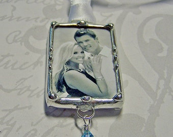 Wedding Bouquet Charm Soldered Glass Photo Charm  Memorial Charm Personalized Custom Made Picture Pendant