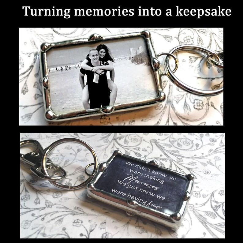 Photo Charm Keychain Soldered Glass Quote Pendant Wedding image 0