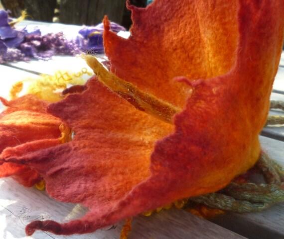 Custom Dyed Felted Flower Lariat