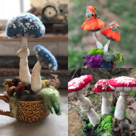 Needle Felting DIY Toadstool Mushroom Kit