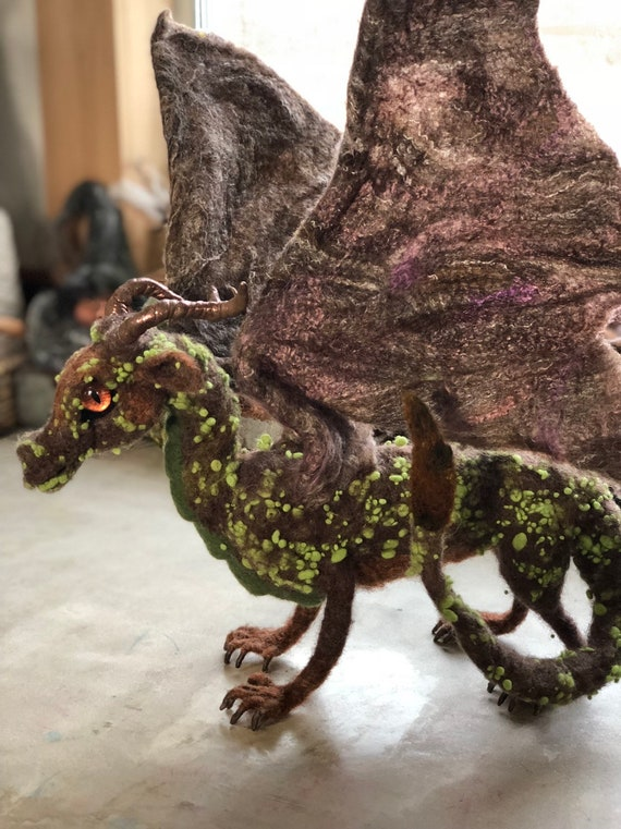 Custom Created Felted Dragon