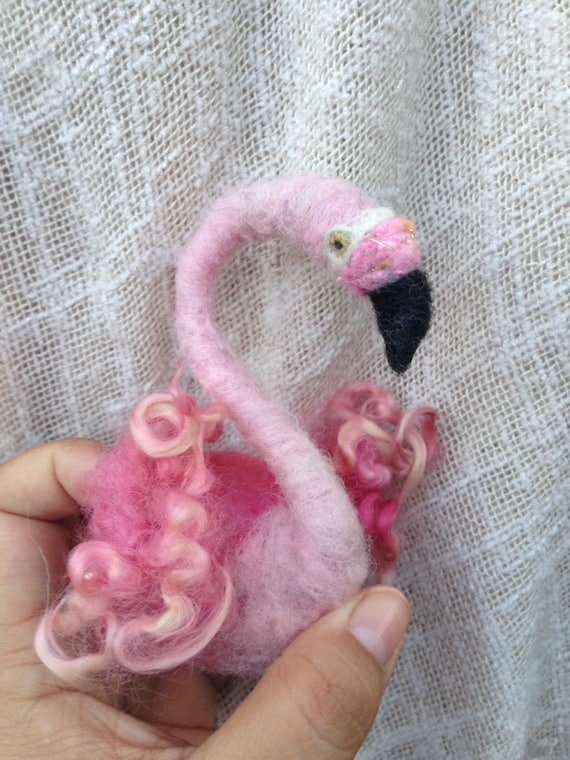 Felted Flamingo pin or brooch