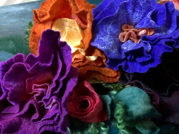 Felted Wool Flowers Handdyed Silk & Merino