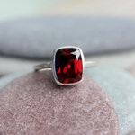 Size 8 Cushion Garnet Ring, Red Garnet January Birthstone  Ring for Her, Garnet Cushion Ring, Eco Silver Solitaire Ring