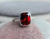 Cushion Garnet Ring, Red Garnet January Birthstone  Ring for Her, Garnet Cushion Ring, Garnet Solitaire Ring, Christmas Gift for Her