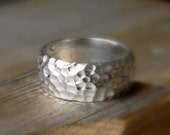 Wide Band Ring , Hammered Band in Matte Silver, Low Dome Comfort Fit Commitment Ring, Unisex Band
