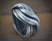 Eco Silver Ring,  Chic Sterling Statement Wave Ring, Bold Wide Band, Organic Original Jewelry, Bold Silver Unisex Ring blackened