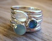 Fire Opal, Chalcedony and Moonstone Rings, Stacking Ring Set Silver and Natural Gemstones, Mixed Shape Ocean Rings in Eco Silver Nickel Free