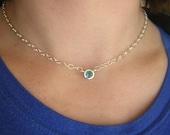 Swiss Blue Topaz Necklace, Bezel Set Solitiare Gemstone Necklace