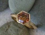 Tawny Zircon Ring, Yellow Gold Hexagon Ring, Eco Amber Gemstone Ring, Six Sided Champagne Zircon, Handmade in America, Faceted by Toracca