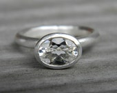 Oval White Topaz Ring,  Handmade Topaz Solitaire or Stacking Ring, Oval topaz Ring in Matte 925