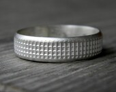 Men's Low Dome Wide Band Ring, Sterling Silver Band Ring for Men, Rustic Silver Wedding Band