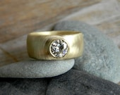 Chunky Gold Engagement Ring, Round Moissanite Wide Band Ring, Thick Band Engagement Ring, Diamond Alternative, Comfort Fit Low Profile Ring