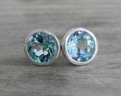 Blue Topaz Stud  Earrings in Silver Bezel Posts, Gemstone Earrings, Blue Gem Earrings, Large Post earrings, Big Stud Earrings for Her