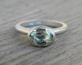 Green Amethyst Ring in Matte Argentium Sterling Silver, Oval Gemstone Stacking Solitaire Matte Ring