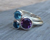 Blue Topaz Ring Set with Amethyst Stacking Ring in Polished Silver Bands, Bohemian Gemstone Jewelry