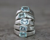 Ocean Blue Aquamarine Ring,  Sterling Silver Ring, Cushion Cut Gemstone Ring, Solitaire Right hand Ring