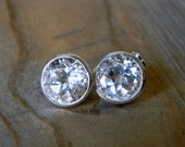 9mm White Topaz Stud Earrings, Sterling Silver Post Earrings, Huge Gem Stud Earrings