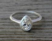 Pear Engagement Ring, White Topaz Ring, Silver Pear Ring, Pear Shaped Diamond Alternative, Bezel Setting Silver  Engagement Ring,