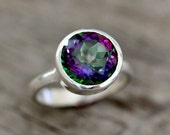 Mystic Topaz Ring, Edgy Sterling Silver Ring, Gemstone Rings in Rainbow Topaz, Rainbow Ring Statement Ring