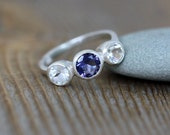Ready to Ship Size 9, Iolite and White Topaz Three Stone Ring in Recycled Sterling Silver