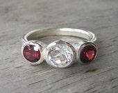 Three stone Garnet and White Topaz Ring, January Birthstone Ring, Bezel Set Sterling Silver Gemstone Ring