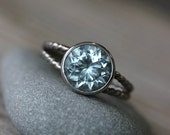 Aquamarine Ring, March Birthstone Ring for her, White Gold Ring, Gemstone Ring , Split Shank Engagement Ring, A diamond alternative