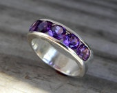 Amethyst Channel Ring, Purple Multistone Band Rings, Wide Gemstone Band