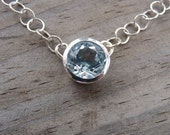 Sky Blue Topaz Necklace, Handmade Sterling Silver and Gemstone Pendant, Large Blue Stone  Drop, Something Blue, Bezel   Solitaire Necklace