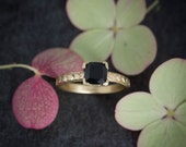 Custom: 6mm Black Spinel Cushion, Four Prong Setting with Chevron Band, 14k Yellow Gold, Hand carved Ring, Size 7
